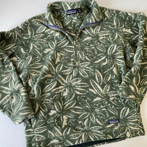 Patagonia Vintage Floral Fleece Leaves Green